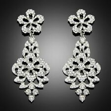 Gorgeous White Gold Plated White Austrian Crystal Dangle Wedding Bridal Earrings