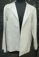 Eileen Fisher textured, open front taupe Jacket Blazer Size Large, 100% silk