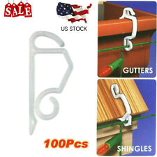 100 x Outdoor Lights Fairy Gutter Hang Hooks Clips For Christmas Xmas Decoration