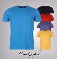 Mens Designer Pierre Cardin Plain Design Crew Neck T Shirt Cotton Top Size S-4XL