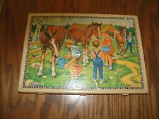 Old German Paper Lithograph Picture Puzzle Blocks in Box w/pictures and bloc