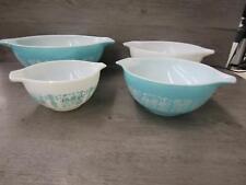 Vintage Set of 4 Pyrex Amish Butterprint Cinderella White Turquois Mixing Bowls