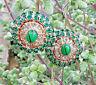 Vintage stile verde semplici orecchini, pendenti ovali cristalli smeraldi italia
