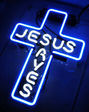 JESUS SAVES Cross Club Poster Hotel Store Decor Art Lamp Neon SIGN Light Display