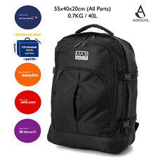 55x40x20 Ryanair Maximum Cabin Size Hand Luggage Black Backpack Rucksack Light