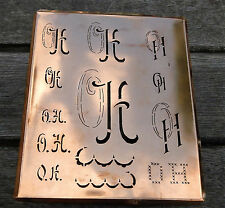 """Monogramm """" OH """" Wäschemonogramm Wäscheschablone Wäschezeichen 11/13 cm KUPFER"""