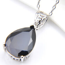 Water Drop Style Black Onyx Gems Silver Necklace Pendants Free Chain For Ladies