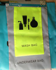 TRAVEL WASH BAGS 3 in 1UNDERWEAR TOILETRY DRAWSTRING SPORT GYM CAMPING SWIM BLUE