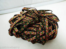 """Woven Jacquard Tappestry Ribbon Trim  Black Floral 1/4"""" Wide 22.61 yards"""