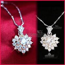 18K GOLD GF LADIES GIRLS LUXURY HEART CLUSTER CRYSTAL PENDANT NECKLACE XMAS GIFT