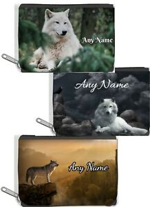 Personalised Denim Purse With WOLF Design *Choice of text colour*