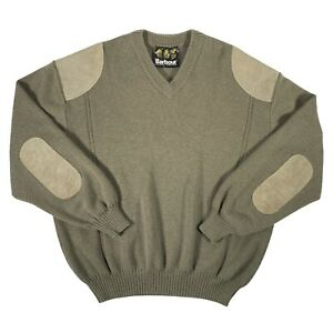 """Men's Barbour Pure New Wool Suede Leather Military Commando Knit Jumper XL 50"""""""