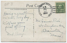 1932 Pinehurst Beach Rural Station Wareham MA summer PO 1924-36 R7! [1440]