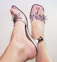 Vicini By Giuseppe Zanotti Leather Kitten Heels Slide Mules Sandals! Size 8.5 AA