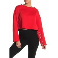 NWT ALO YOGA $138 Cherry Pop Lace-Up Sleeve Pullover Size XS