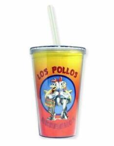 Breaking Bad Los Pollos Hermanos Plastic Reusable Cup Tumbler w/Lid