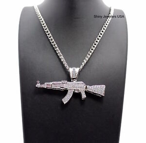 MENS SILVER MACHINE GUN AK47 CHOPPER PENDANT CUBAN CHAIN NECKLACE