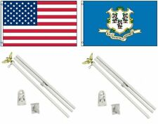 3x5 Usa American & State of Connecticut Flag & 2 White Pole Kit Sets 3'x5'