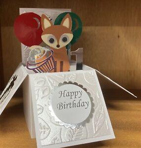 Beautifully Handmade Cute little Fox themed pop up card