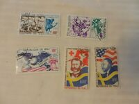 Lot of 5 Mali Stamps, 1976 American Bicentennial, 1977 Nobel Peace Prize Winners