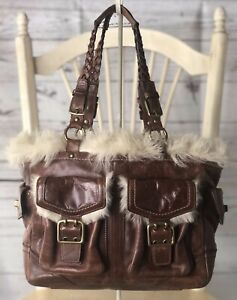 COACH Limited Edition Shearling Fur Tobacco Leather Gallery Shoulder Bag #8B06