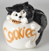 Ceramic Cat Cookie Jar Spellout Cookies Black White