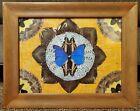 Vintage Brazil blue Butterfly Wing design Picture plaque Wood Framed