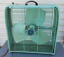Vintage Sears Roebuck Box Fan Art Deco Aqua Turquoise 2 speed Metal Works