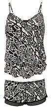 Ladies Black Leopard Print Elastic Waist Ruffle Cami and Shorts Pyjamas Set 10 UK Animal (a)