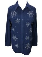 Quacker Factory XL Blue Snowflake Embroidered Long Sleeve Button Front Top
