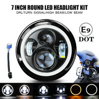 7 Zoll Motorrad LED Projektion Halo Angel Eye Hi/Lo Haupt Scheinwerfer E-Geprüft