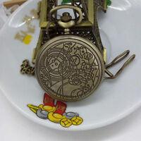 Retro Bronze Dr. Who Muster Tasche Uhr Halsketten Ketten Anhänger Geschenk K1R7