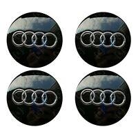 4 x Audi Alloy Wheel Centre Caps 60mm Black - OEM Fit A1 A3 A4 A5 A6 A7 Q3 Q5 Q7