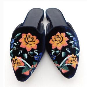 J Crew size 6 blue velvet floral design mules flats slip on