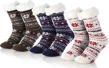 Kuschelsocken 3er Set Wintersocken Abs Sohle Weihnachtssocken Home Slippers WBB