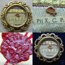 """† VINTAGE """"S. Pii X. C. P."""" RELIC RELIQUARY THECA LOCKET WAX SEAL STRING INTACT"""