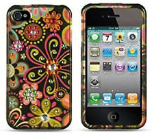 For iPhone 4 4S Spot Diamond Bling HARD Case Phone Cover Black Multi Flowers