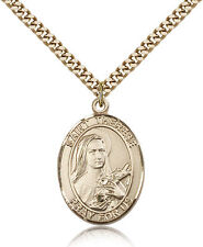 "Saint Therese Of Lisieux Medal For Men - Gold Filled Necklace On 24"" Chain - ..."