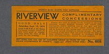 Riverview Park rare 1931 Concessions pass