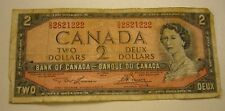 1954 Canada $2 Dollar Banknote with 3 numbers