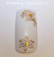 Flower Nail Art Sticker - 3D Pink & Gold Metallic Decals #252 Transfers Wrap