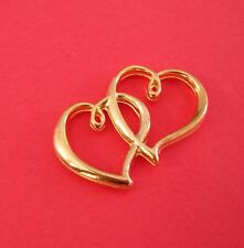 Hearts, Gold Plated Alloy. 5pcs-Heart Charm,Connector, Double Sided, Two
