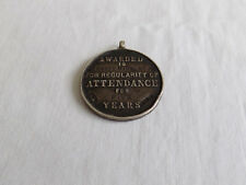 Vintage Silver School Fob Medal Attendance Aston Manor Education Committee 1910