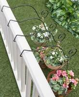 Metal Garden Hanging Solution Porch Patio Outdoor - Set of 4 Deck Rail Hangers