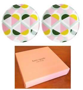 Kate Spade Key GEO SPADE Set of 2 Tidbit Plates New In Box