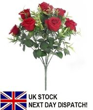 40cm Artificial Rose Silk Flowers 10 Flower Head Floral Fake Valentines RED