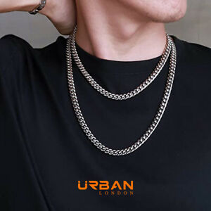 Cuban Link Chain 18K 8mm Curb Men Women White Gold Necklace Miami Curb Solid