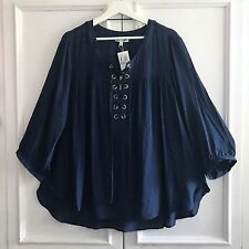 SPENSE 3X Navy Blue Airy Lace Up Nautical Silver Grommet Tunic Top Blouse Gauze