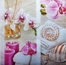 4 x single  PAPER NAPKINS - candles shells orchid - DECOUPAGE AND CRAFT-76