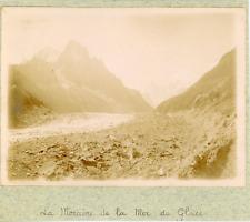 France, Lac moraine de la Mer de Glace, ca.1900, vintage citrate print Vintage c